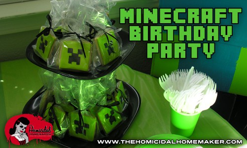 Minecraft Birthday Party | The Homicidal Homemaker | minecraft party | creeper cookie | minecraft cookie
