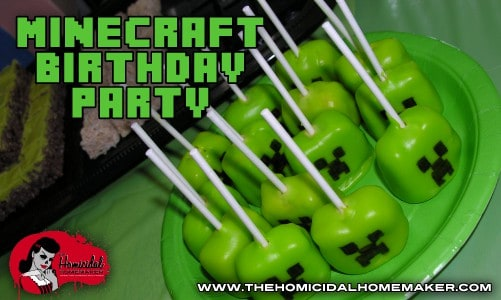 Minecraft Birthday Party | The Homicidal Homemaker | minecraft party | minecraft cakepop